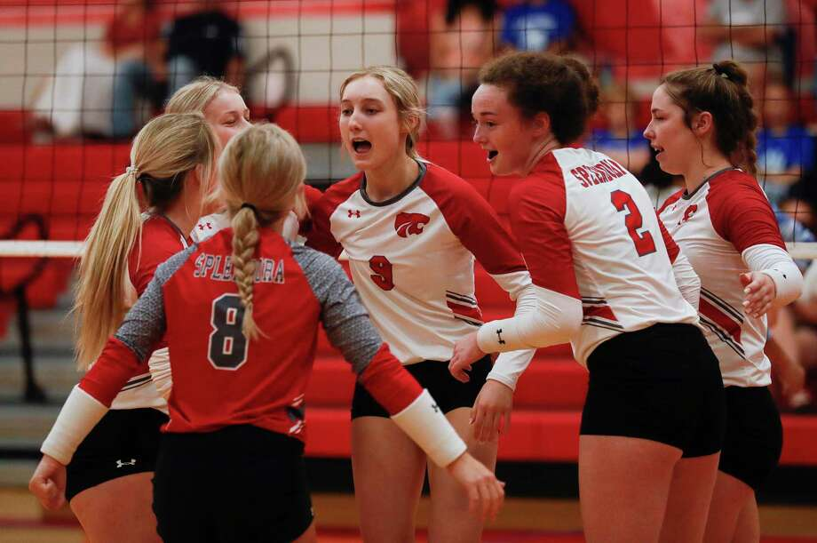 Splendora players celebrate after scoring a point during the first set of a non-district high school volleyball match, Saturday, Aug. 29, 2020, in Splendora Photo: Jason Fochtman, Houston Chronicle / Staff Photographer / 2020 © Houston Chronicle