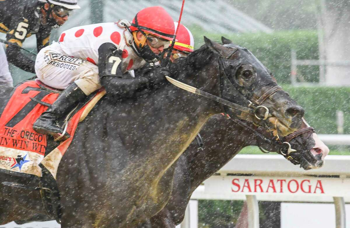 Win Win Win with jockey Javier Castellano out duels Complexity with jockey Jose Ortiz to the wire for the win in the 41st running of The Forego Saturday Aug.29, 2020 at the Saratoga Race Course in Saratoga Springs, N.Y. Photo by Skip Dickstein//Special to the Times Union