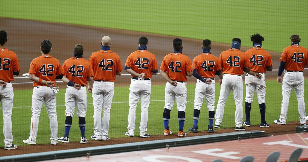 Houston Astros players all wearing