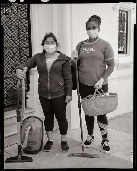 Manuela Garcia, 33 and Patricia Hodge. Professional Cleaners, Mission District, San Francisco, California. on Thursday, July 30, 2020. Photo: Gabrielle Lurie / The Chronicle