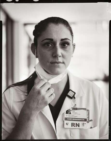 Nurse Liz Philips, age 30. Works on Covid-19 floor. Saint Francis Memorial Hospital. Polk Gulch neighborhood. San Francisco, California. Friday May 22, 2020. Photo: Gabrielle Lurie / The Chronicle