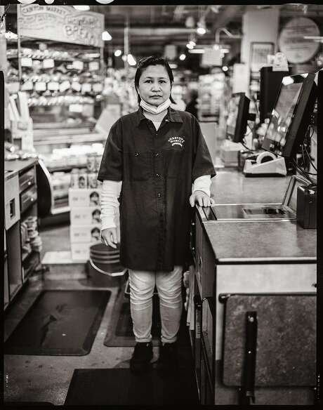 Noreen Dosayla, age 43. Grocery Cashier. Canyon Market. Glen Park, San Francisco, California. Monday July 20th, 2020. Photo: Gabrielle Lurie / The Chronicle