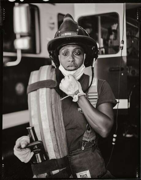 Firefighter Tanesha Gibson, age 33. Fire Station 17. Bayview district. San Francisco, California. Monday June 1, 2020. Photo: Gabrielle Lurie / The Chronicle