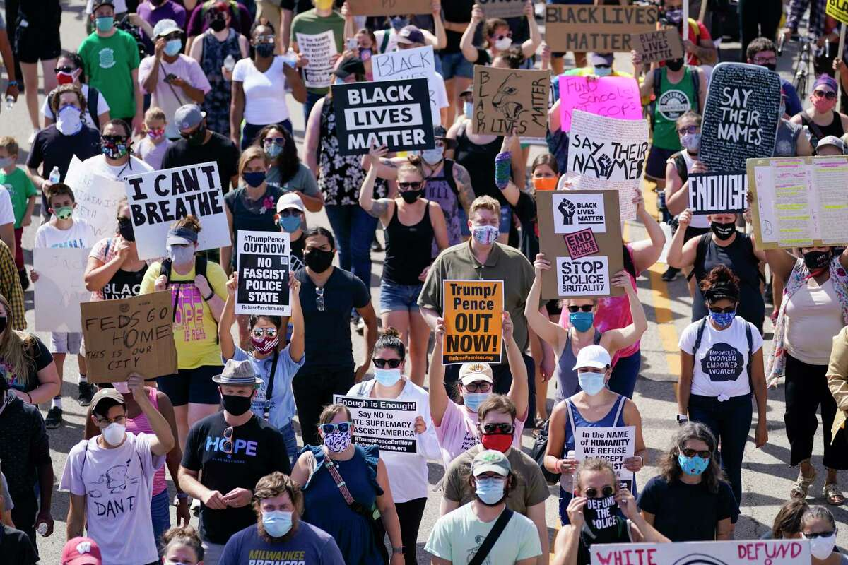 Hundreds march at a rally for Jacob Blake Saturday, Aug. 29, 2020, in Kenosha, Wis. (AP Photo/Morry Gash)