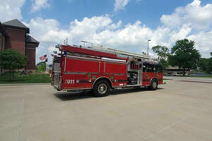 Engine 1318 bids good-bye to Fire Station 1 on S. Main Street before it heads to Witt, Illinois to begin its new service life for the volunteer fire department there.