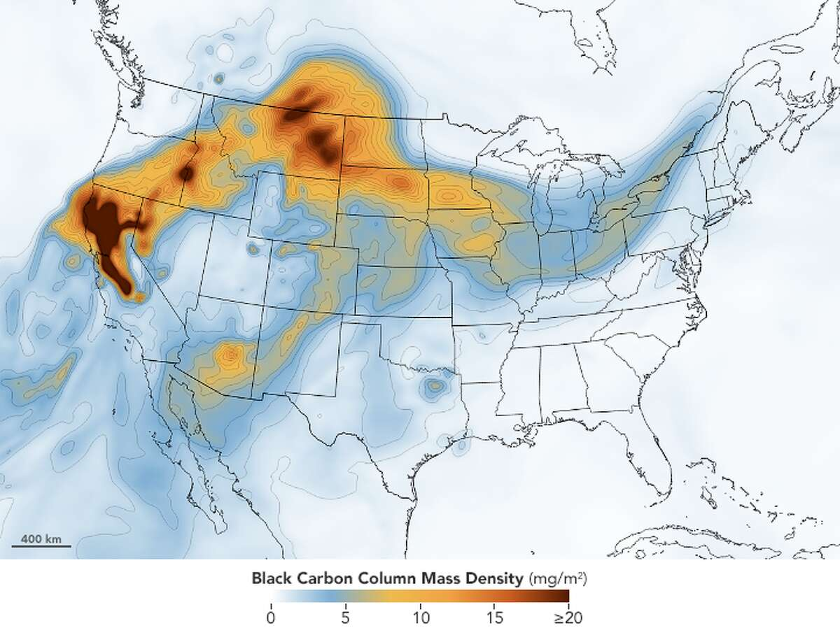 This map shared by NASA on Aug. 25, 2020 shows the concentration of black carbon particulates-commonly called soot - throughout the Bay Area.