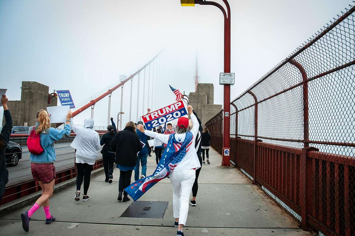Trump supporters marched across the Golden Gate Bridge in San Francisco, Calif. on August 30, 2020.