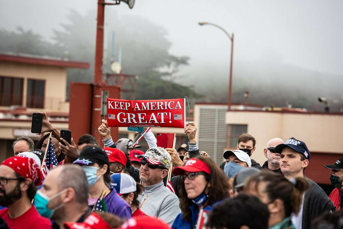Trump supporters gathered on the Golden Gate Bridge in San Francisco, Calif. on August 30, 2020.  On Monday, a protest march closed some lanes of the Golden Gate Bridge and tied up traffic in San Francisco and Marin County.