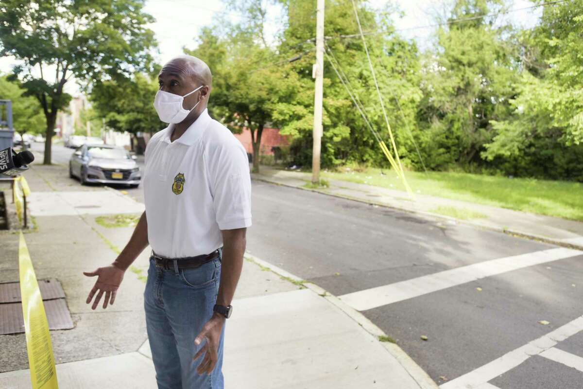 Albany Police Chief Eric Hawkins talks to members of the media near the scene of a shooting on Clinton St. on Sunday, Aug. 30, 2020, in Albany, N.Y. The city's 15th homicide happened Sept. 23, 2020. (Paul Buckowski/Times Union)