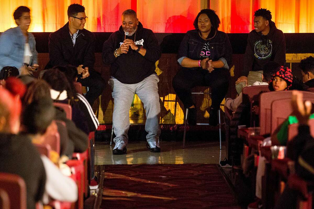Ira Coogler (center) during a panel following a screening of Black Panther at the Grand Lake Theater, Monday, Feb. 19, 2018, in Oakland, Calif. Coogler is the father of Black Panther movie director Ryan Coogler. The panel included Malik Poole of Hidden Genius (second from left), Sasha Williams of Black Girls Code (second from right) and George Hofstetter of Hidden Genius (right).