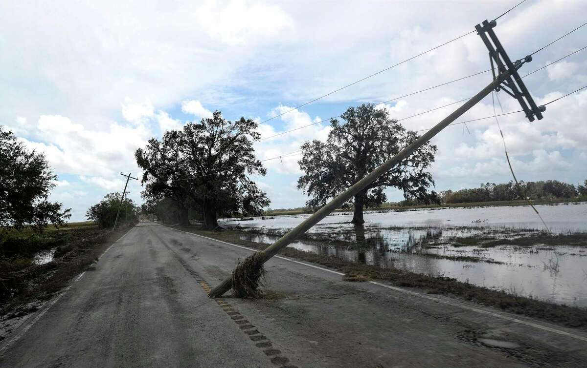 A utility pole was damaged when Hurricane Laura came ashore early Thursday morning. It was photographed Saturday, Aug. 29, 2020, in Cameron Parish near Grand Chenier, La.