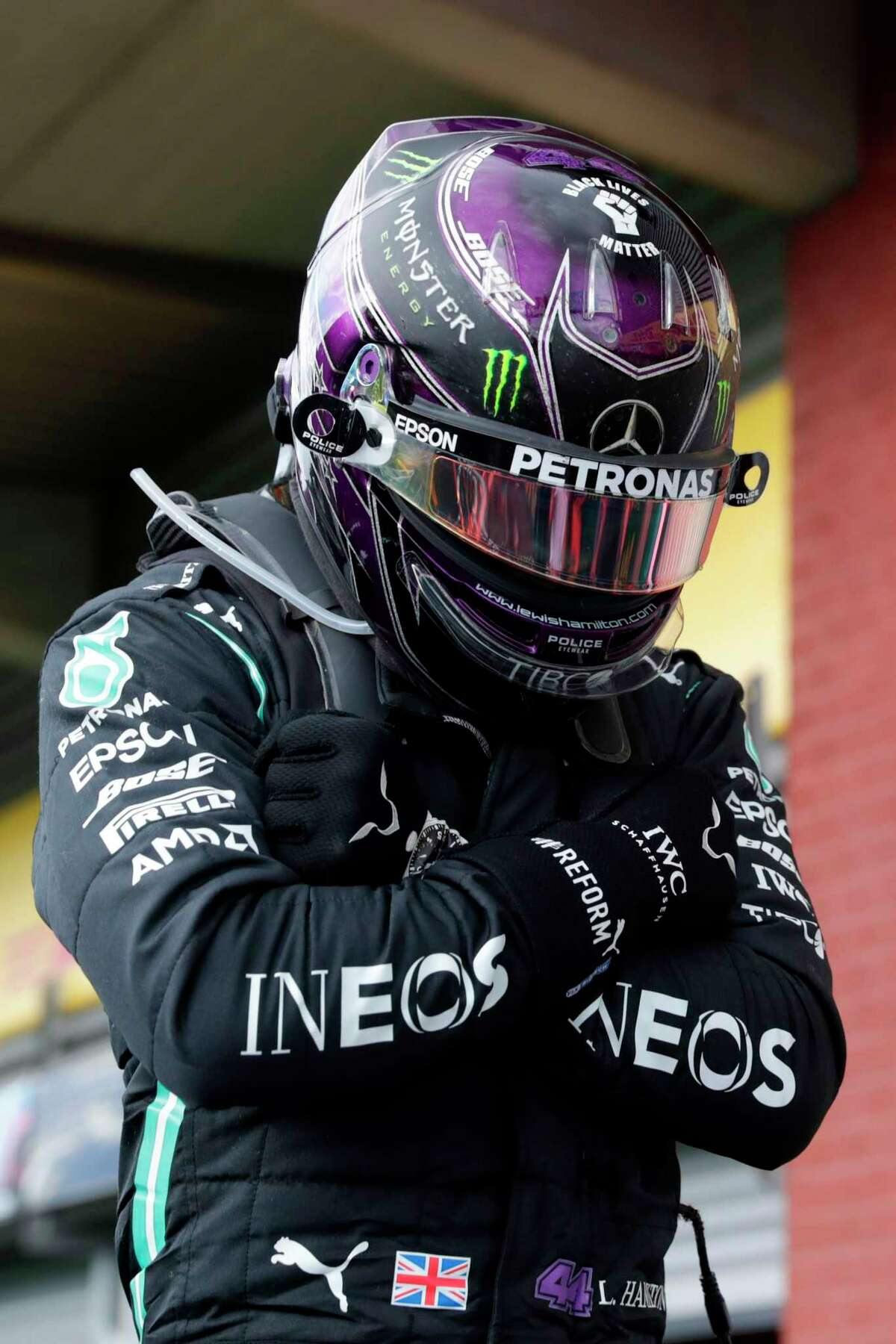 Mercedes' British driver Lewis Hamilton gestures at the end of the race of the Belgian Formula One Grand Prix at the Spa-Francorchamps circuit in Spa on August 30, 2020. (Photo by Stephanie Lecocq / POOL / AFP) (Photo by STEPHANIE LECOCQ/POOL/AFP via Getty Images)