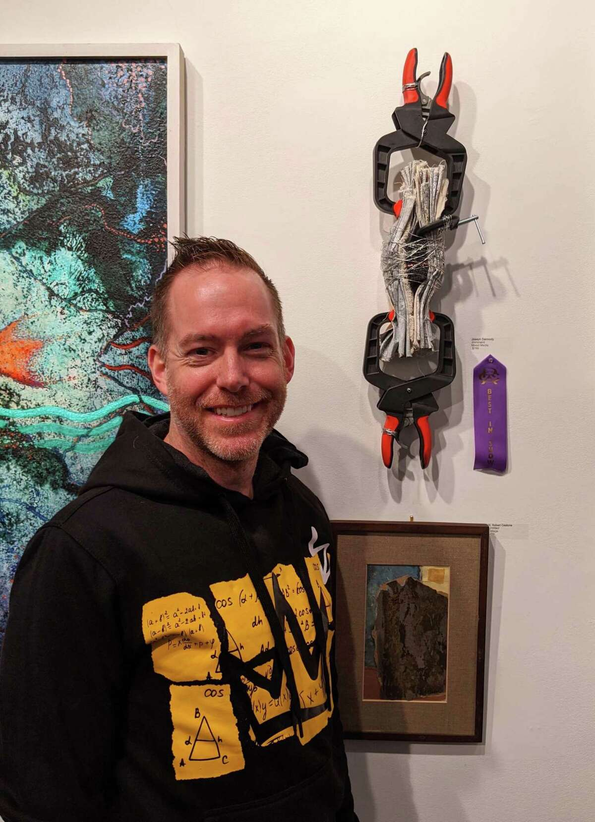"""Joseph Dermody's """"Imminent,"""" a mixed media sculpture, and winner of Best of Show from the Abstraction exhibit in February 2020."""
