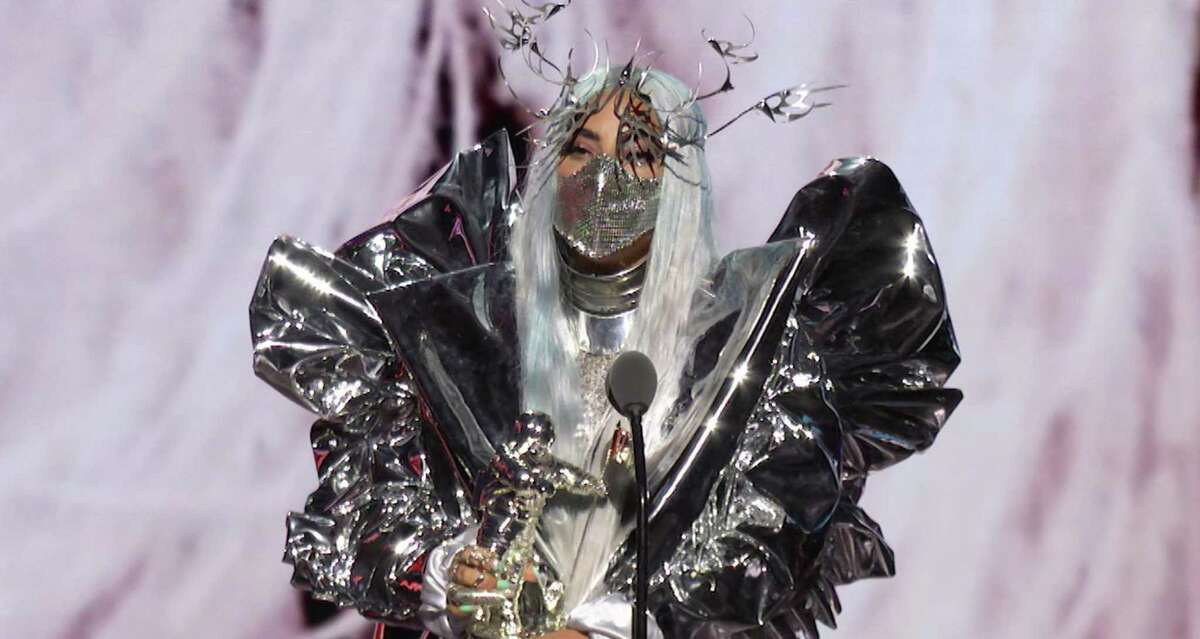 Lady Gaga acceps the TriCon Award during the 2020 MTV Video Music Awards.