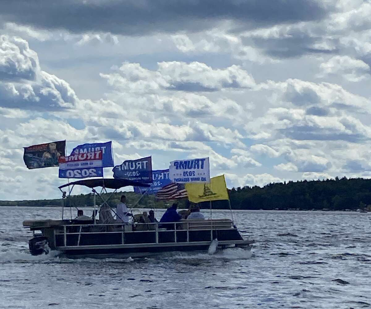 """Hundreds of boats were spotted at the Hardy Dam over the weekend for a MAGA Boat Parade. An estimated 4,000 people were reported at the event on Saturday to show their support for President Donald J. Trump. The parade was hosted by a group called, """"TRUMP 2020 Grassroots Leadership of Kent County."""""""