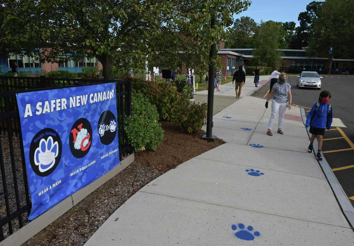 First day of the new school year at South Elementary School in New Canaan, Conn, Monday, August 31, 2020.