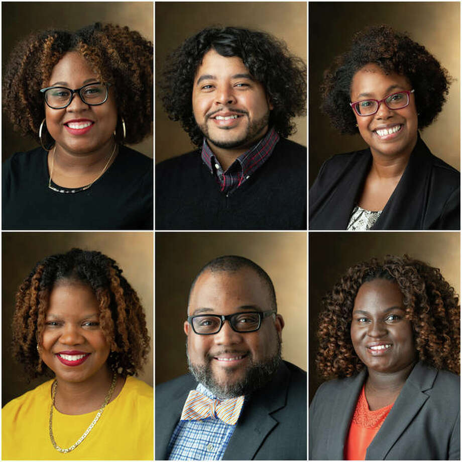 Photo: SIUE School of Education, Health and Human Behavior new hires include, top row from left, Candace Hall, EdD, lecturer in the Department of Educational Leadership and co-director of the College Student Personnel Administration (CSPA) program; Nate Williams, PhD, associate professor in the Department of Teaching and Learning's secondary education program and pedagogical, curricular and leadership support at the SIUE East St Louis Charter High School; and Rachel Tenial, PhD, assistant professor in the Department of Psychology; bottom row from left, Cherese Fine, PhD, assistant professor in the Department of Educational Leadership; Cedric Harville, PhD, assistant professor in the Department of Applied Health; and Divah Griffin, SEHHB development officer.