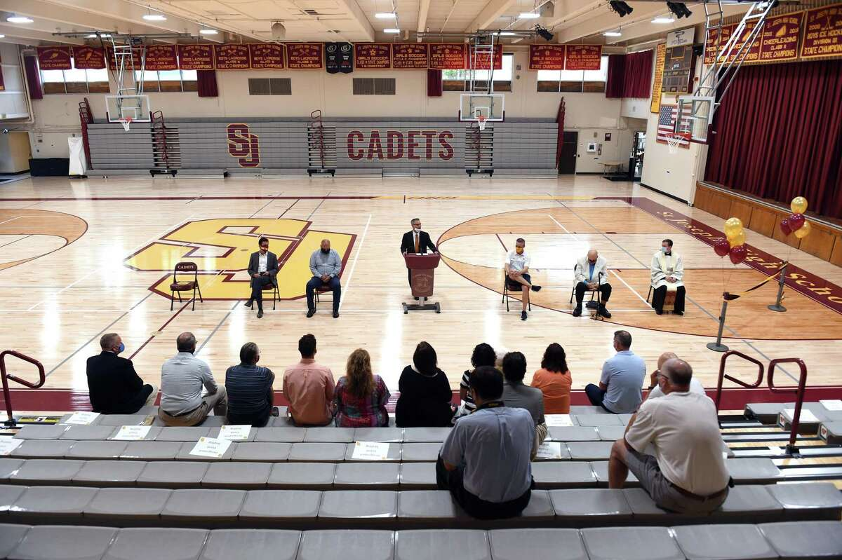 St. Joseph High School held a ribbon cutting ceremony at the school's renovated gym rededicated in honor of former basketball coach Vito Montelli in Trumbull on August 28, 2020.