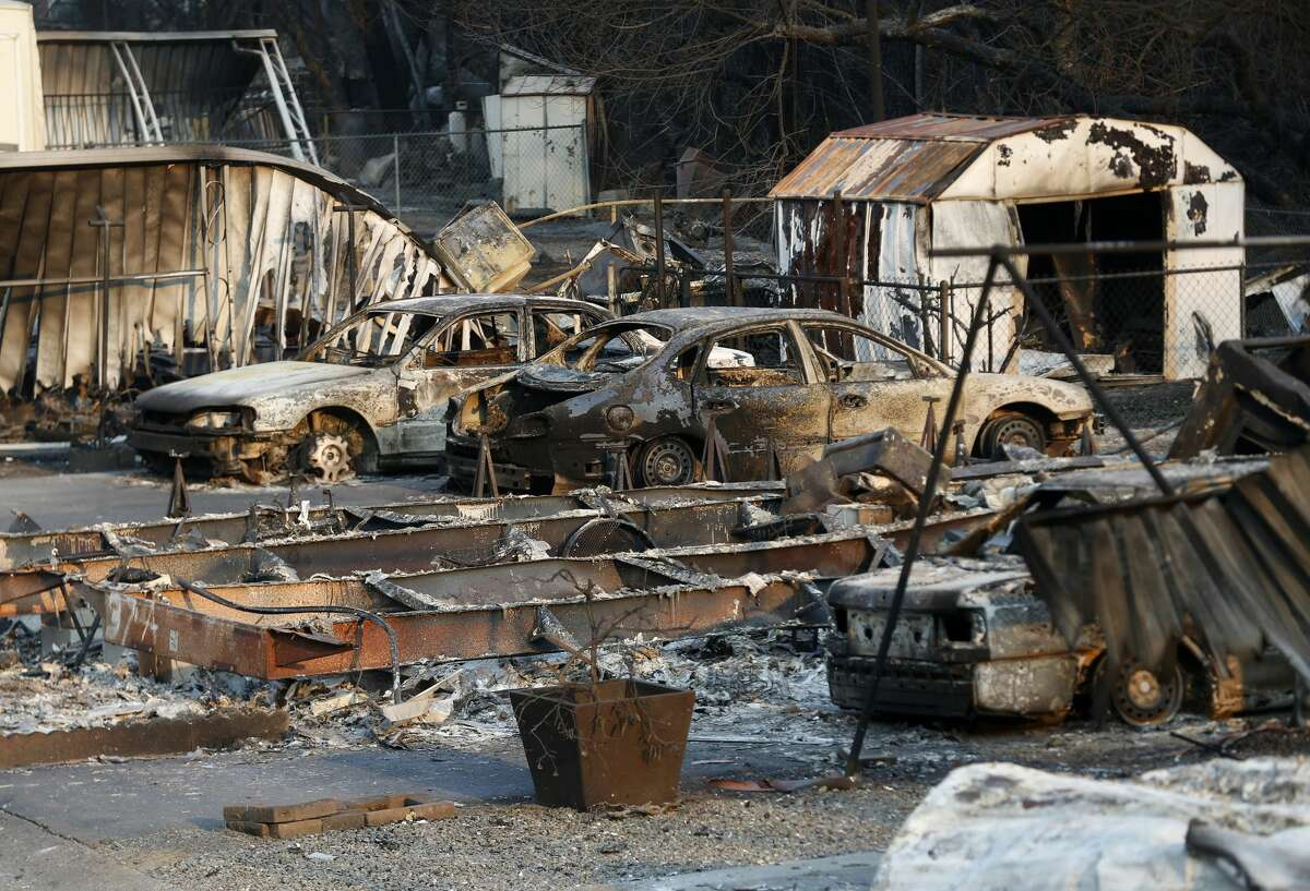 Destruction from the Hennesey Fire is seen at the Spanish Flat Mobile Villa trailer park in Lake Berryessa, Calif., on Wednesday, Aug. 26, 2020. The fire is part of the LNU Lightning Complex Fire, which is now the second-largest fire in California history.