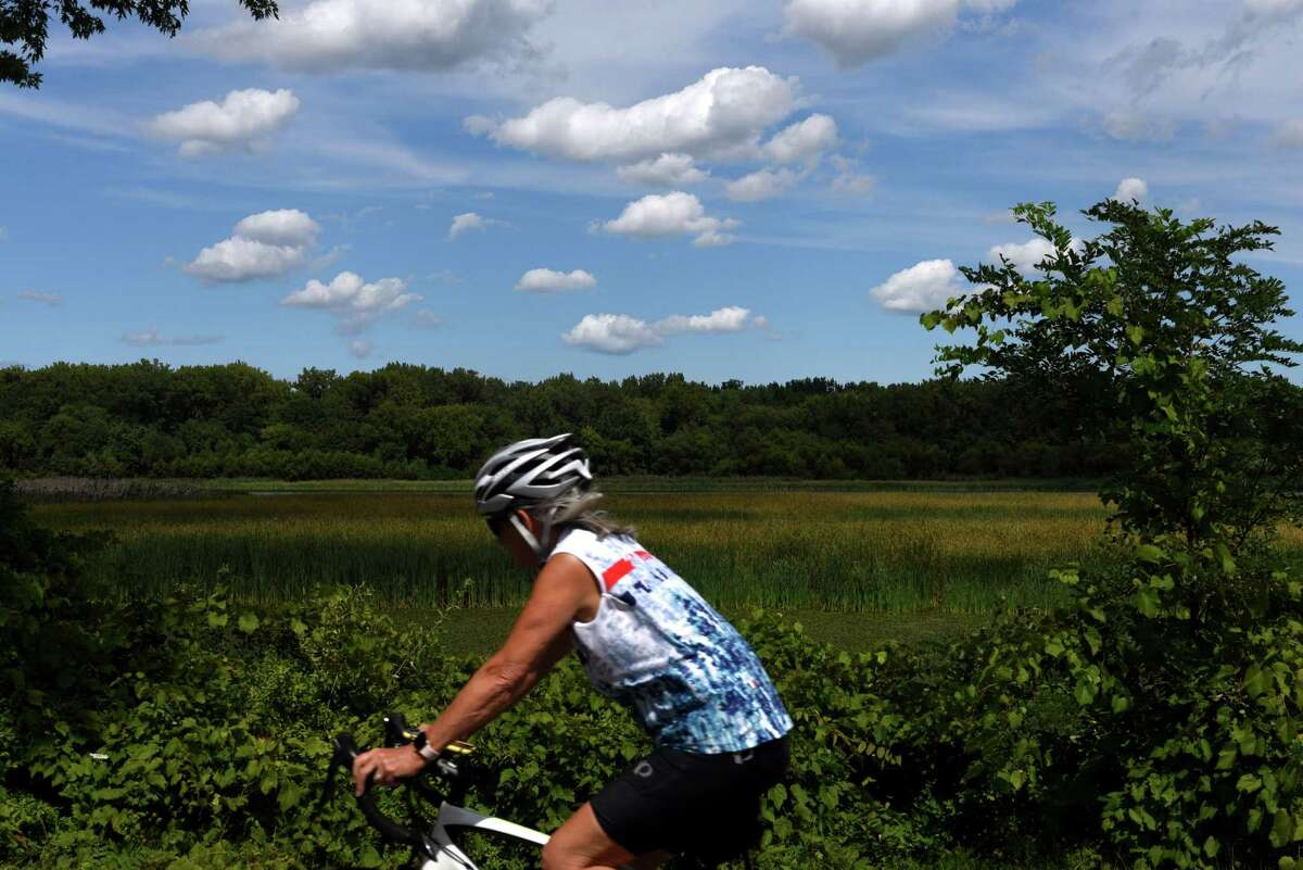 Pleasant weather made for enjoyable day for outdoor exercise seekers on the Mohawk-Hudson Bikeway at Lions Park on Monday afternoon, Aug. 31, 2020, in Niskayuna, N.Y. (Will Waldron/Times Union)