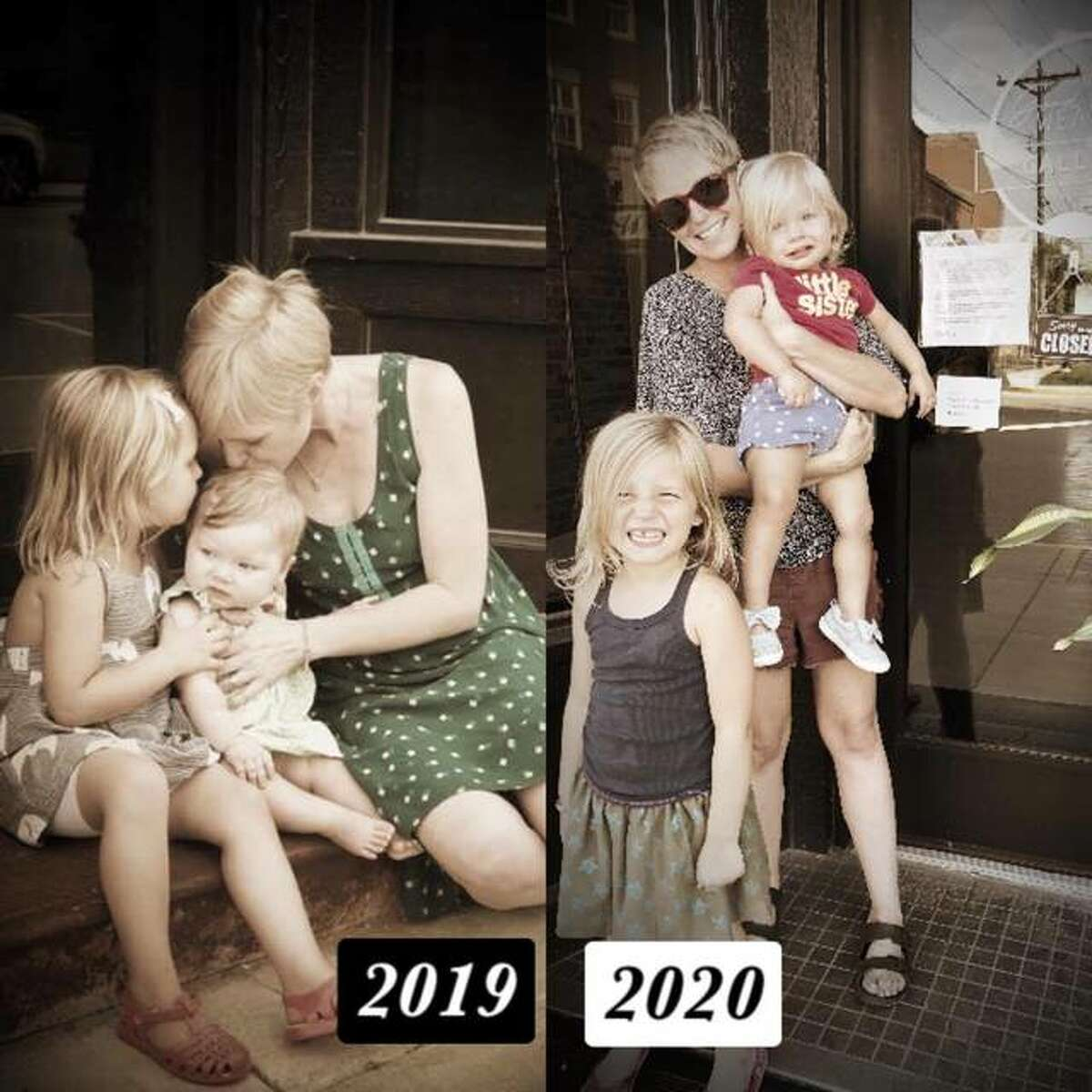 Good Weather Gallery owner and curator Brooke Peipert, of Alton, in 2019, left, and then in 2020, with her daughters Hazel, 5, and Juniper, 1, both of whom are always with Peipert most of the time when she is at the gallery. Peipert opened Good Weather Gallery and her daughters are inspiration for Peipert.