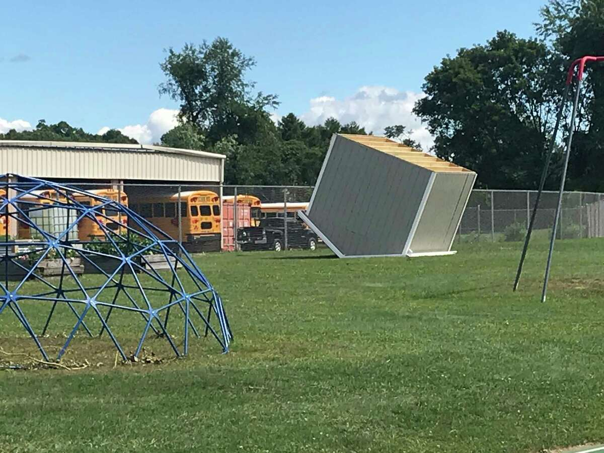 Gardening shed overturned by Aug. 29, 2020 tornado on Hoosic Calley Central School District campus on Aug. 31, 2020.