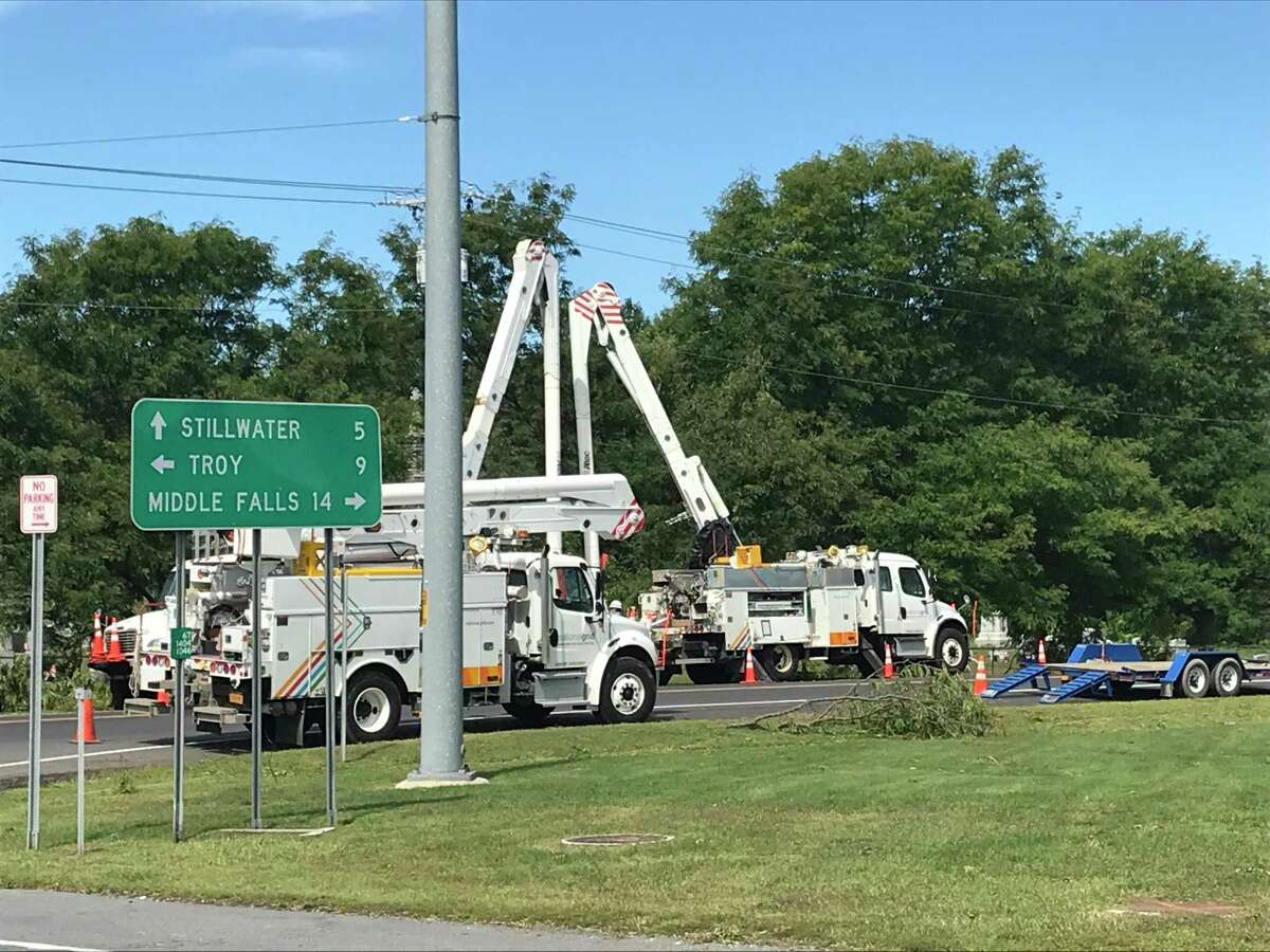 National Grid crews make repairs on Monday Aug. 31, 2020 at St. John's Cemetery in Schaghticoke, NY following tornado Saturday.