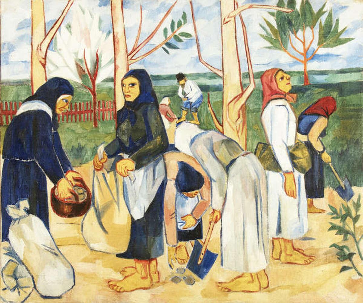 Natalia Goncharova, Russian, 1881-1962; Planting Potatoes, 1908-1909; oil on canvas; 43 11/16 x 51 9/16 inches; Musée d'Art Moderne et Contemporain, Strasbourg 2020.118; © 2019 Artists Rights Society (ARS), New York/ADAGP, Paris