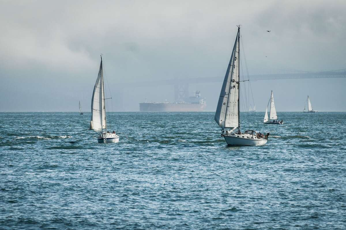 Sailboats on a cloudy day.