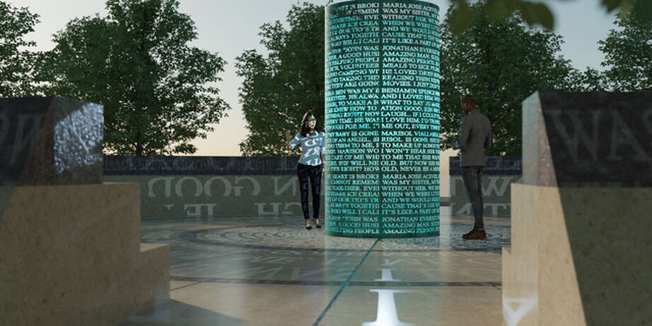 Renderings of Bright Stars -- A Memorial. The installation consists of an 11-inch bronze cylinder, with cutout text honoring the victims and first responders from Aug. 31. Photo: Courtesy Photo