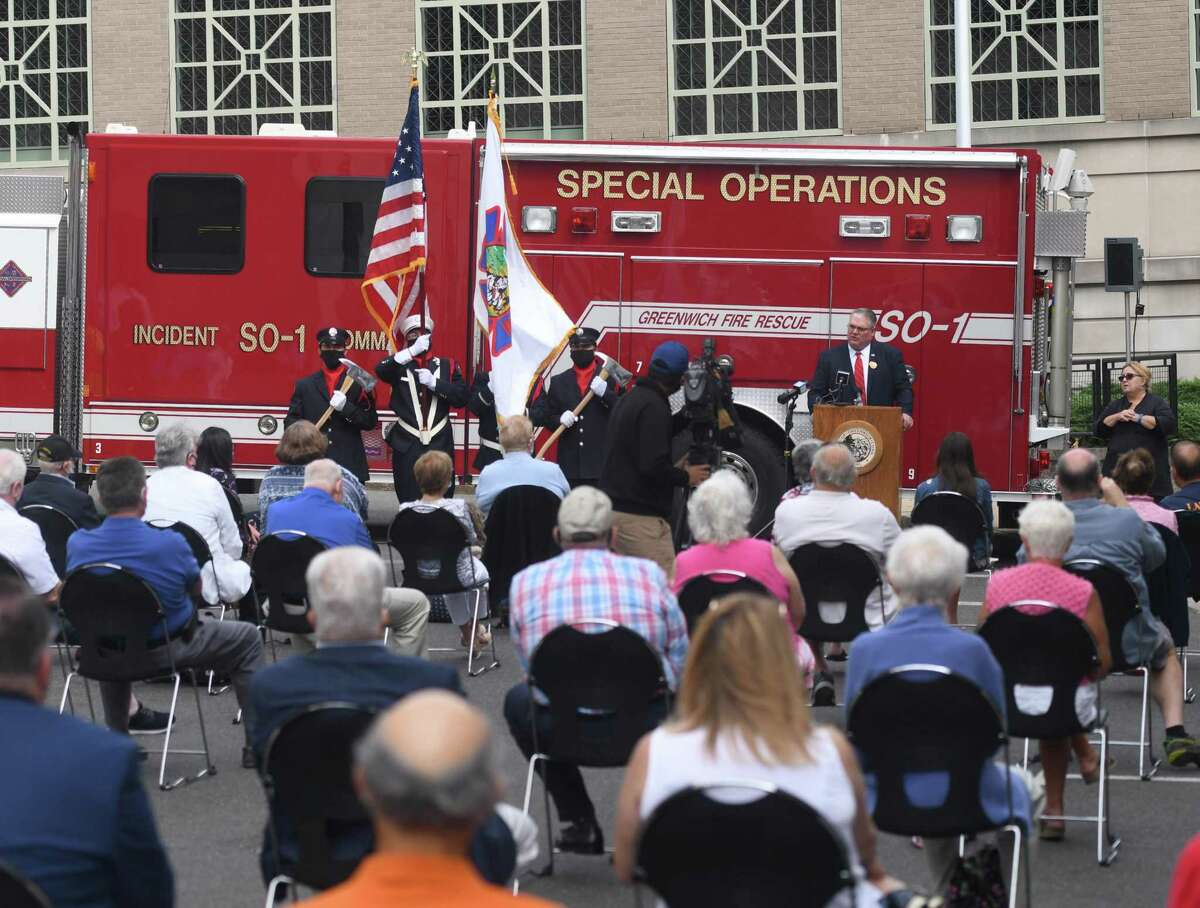 Incoming Fire Chief Joseph McHugh speaks during his swearing-in ceremony at the Public Safety Complex in Greenwich, Conn. Monday, Aug. 31, 2020. McHugh grew up in Greenwich and spent most of his career with the FDNY. The incoming Fire Chief will succeed Peter Siecienski, who retired in May, and begin his role on Sept. 14.