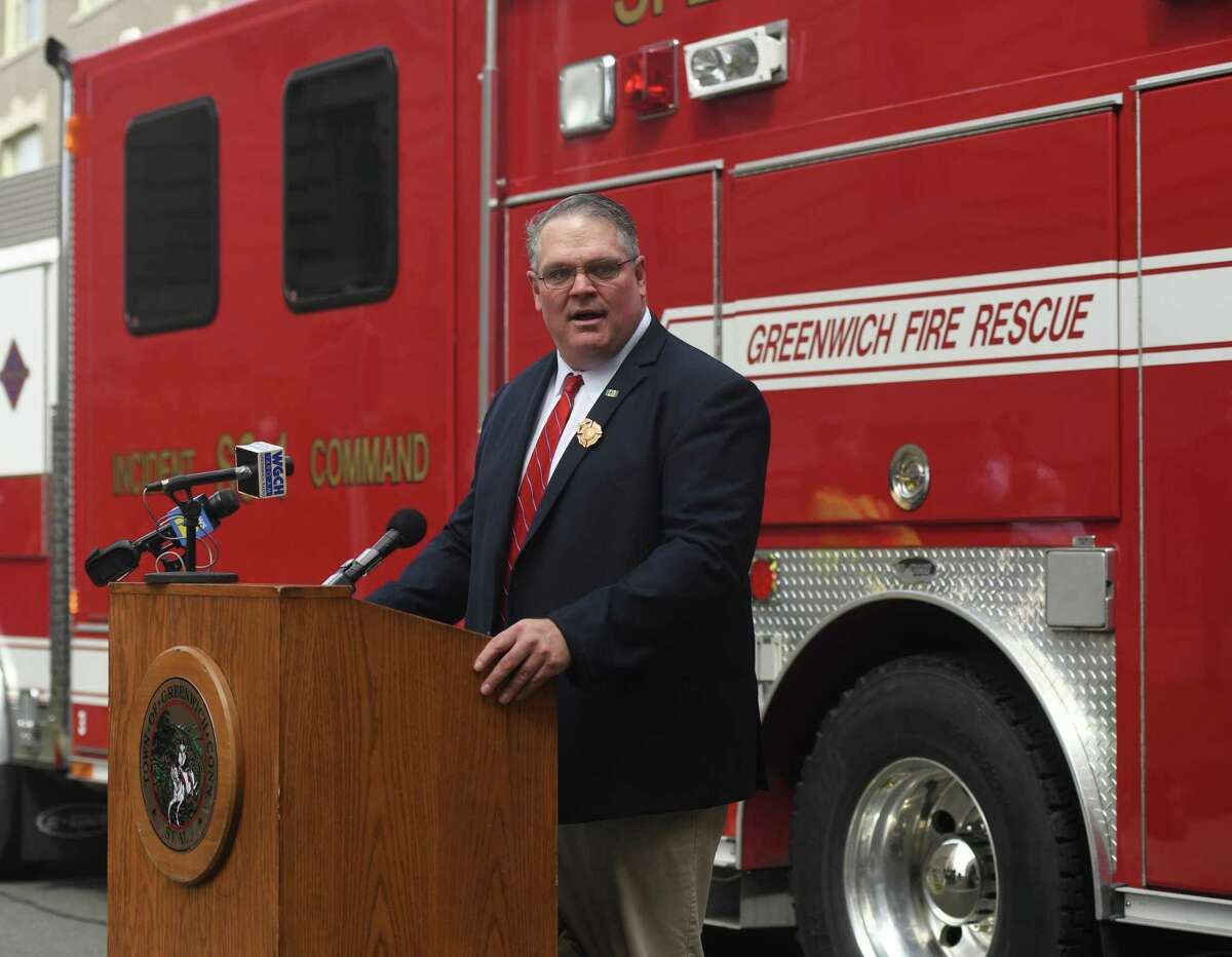 Incoming Fire Chief Joseph McHugh speaks during his swearing-in ceremony at the Public Safety Complex in Greenwich, Conn. Monday, Aug. 31, 2020.