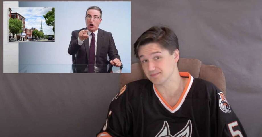 """Casey Bryant, communications director for the Danbury Hat Tricks professional hockey team, sent a video to HBO host John Oliver inviting him to come to Danbury for a """"trashing"""" in response to Oliver's on-air put down of the city. Sunday night Oliver played some of Bryant's message on his program. Photo: Casey Bryant / Danbury Hat Tricks"""