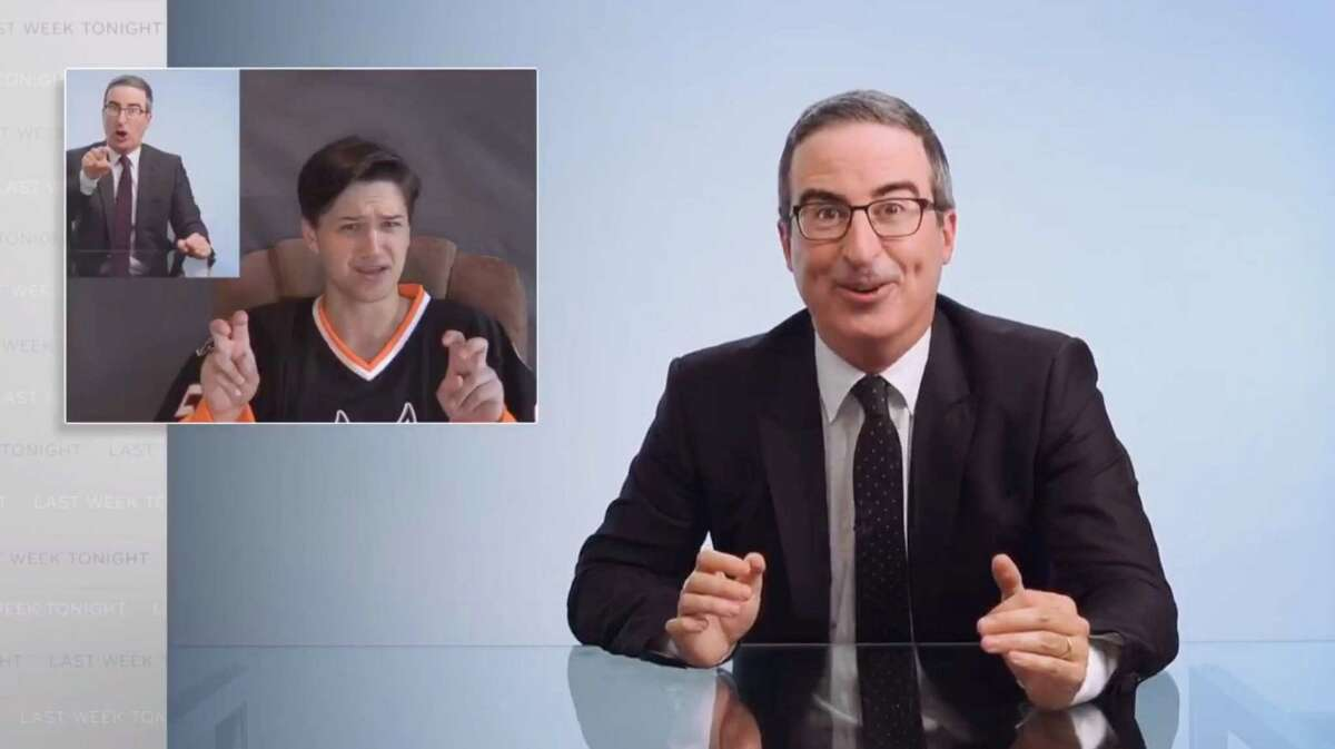 HBO host John Oliver showed a clip of a video by Casey Bryant, communications director for the Danbury Hat Tricks professional hockey team, on his program Sunday night. Oliver has already donated to Danbury teachers' projects on Donors Choose, a crowdfunding site. He promised to donate $25,000 to the teachers, $25,000 to Connecticut Food Bank and $5,000 to ALS Connecticut if the renaming happens. RELATED: 'I'll look 1,000 times cuter than the real John Oliver': Caio Ninja says he will cut Danbury sewage plant ribbon