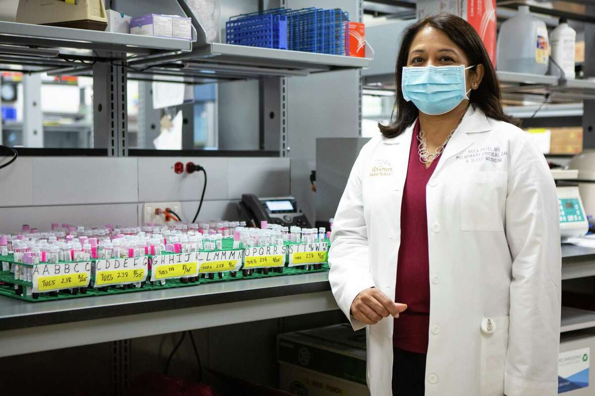 Dr. Bela Patel, chief medical officer and a co-principal investigator (Co-PI) of the convalescent plasma study, poses for a portrait in the blood bank at Memorial Hermann Texas Medical Center on Aug. 25, 2020.