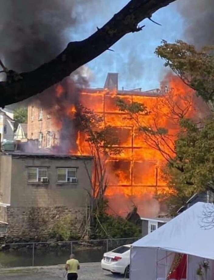 A view of the blaze from the Byram section of Greenwich. Photo: / Contributed: PCFD