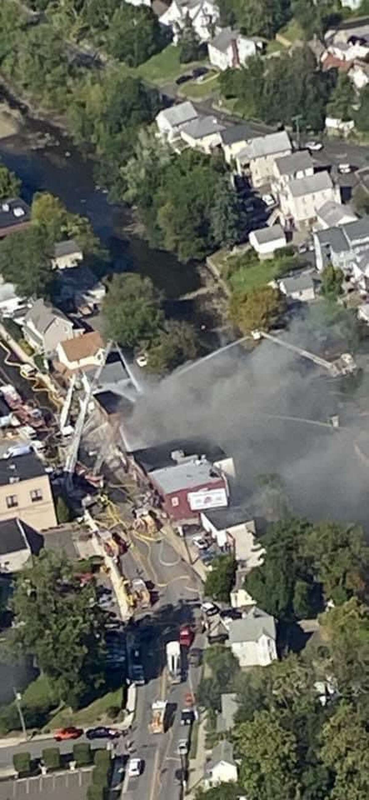 Hundreds of firefighters from around the region battled a blaze in Port Chester near the Greenwich border Sunday afternoon.