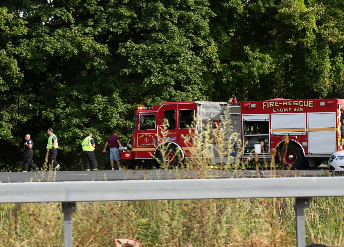 Emergency crews attend to the scene of crash in the northbound lanes of I-87 between exits 4 and 5 on Monday afternoon, Aug. 31, 2020, in Colonie, N.Y. Rush hour Northway northbound traffic was backed up below Exit 4. (Will Waldron/Times Union)
