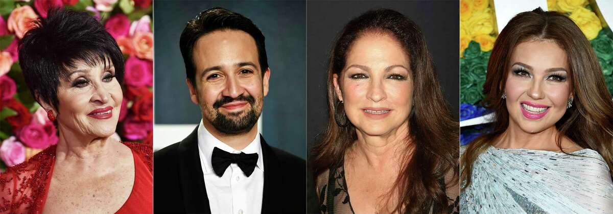 This combination photo shows, Chita Rivera, from left, Lin-Manuel Miranda, Gloria Estefan and Thalia, who will participate in a benefit digital concert in October to celebrate Latino culture and achievement in theater. a€œViva Broadway! Hear Our Voicesa€ will be held online Oct. 1 and will be hosted by AndrA©a Burns. (AP Photo)