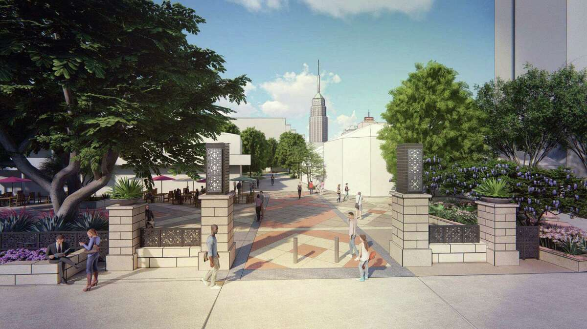 The rendering shows the planned makeover of Maverick Plaza. Plans call for scaling back the public space at Maverick Plaza as part of the $12 million renovation.