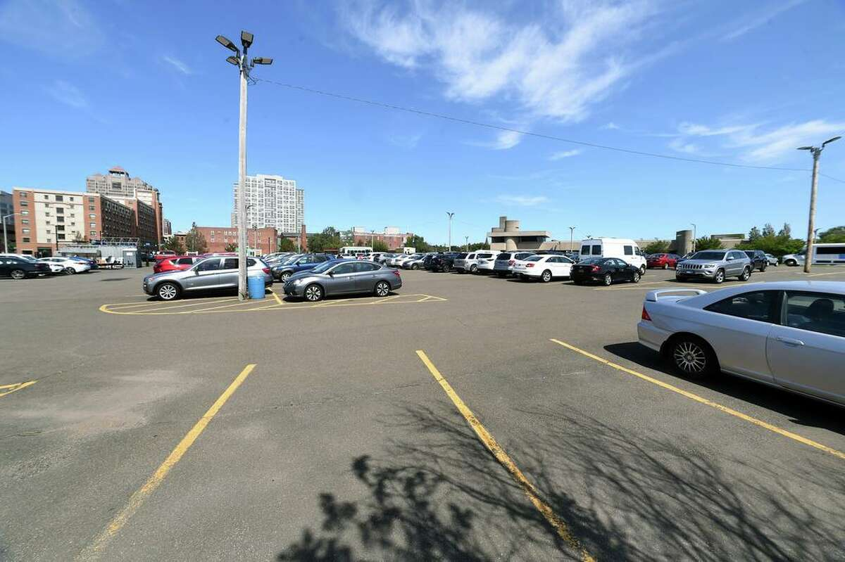 The location of the former New Haven Coliseum which is currently a parking lot photographed on August 26, 2020.