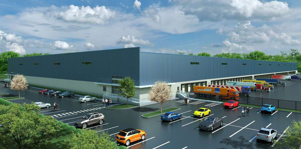 A rendering showing a proposed warehouse/distribution facility at 495 Lordship Blvd.
