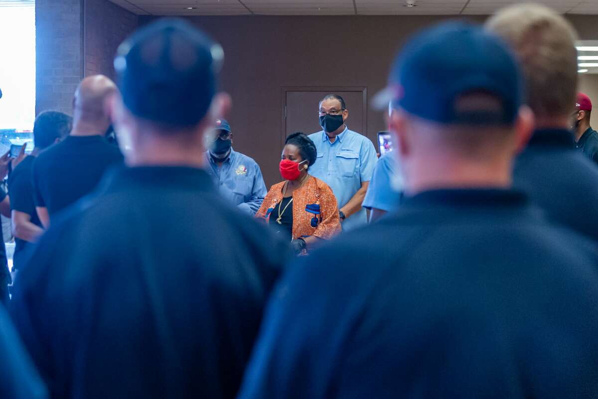 U.S. Rep. Sheila Jackson Lee, D-Houston speaks to those assembled about what she intends to do to meet the needs of the people and areas affected by the hurricane. The first Hurricane Laura evacuees returned to the Port Arthur Civic Center on Monday afternoon. Photo made on August 31, 2020. Fran Ruchalski/The Enterprise