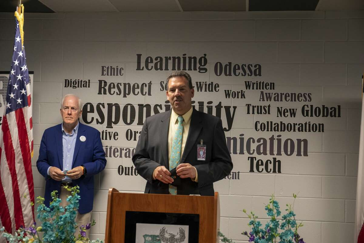 ECISD superintendent Scott Muri talks about the issues facing the district as U.S. Sen. John Cornyn waits to talk about the CARES Act on Monday, Aug. 31, 2020 at New Tech Odessa.