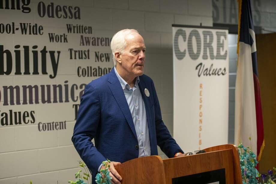 U.S. Sen. John Cornyn talks about the CARES Act on Monday, Aug. 31, 2020 at New Tech Odessa. Photo: Jacy Lewis/Reporter-Telegram / MRT