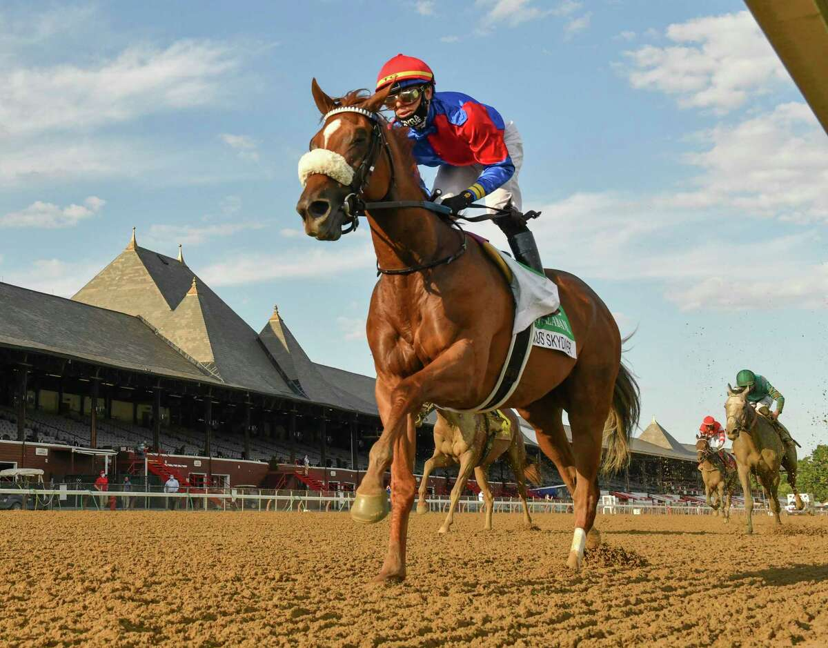 Swiss Skydiver with jockey Tyler Gafalione in the irons convincingly wins the 140th running of The Alabama Saturday Aug.15, 2020 at the Saratoga Race Course in Saratoga Springs, N.Y. Photo by Skip Dickstein/Special to the Times Union