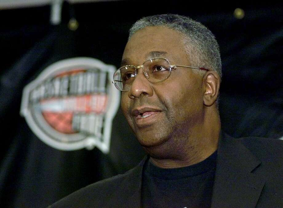 """FILE - In this Oct. 1, 1999, file photo, former Georgetown basketball coach John Thompson addresses the media during a news conference for inductees to the Basketball Hall of Fame in Springfield, Mass. John Thompson, the imposing Hall of Famer who turned Georgetown into a """"Hoya Paranoia"""" powerhouse and became the first Black coach to lead a team to the NCAA men's basketball championship, has died. He was 78. His death was announced in a family statement Monday., Aug. 31, 2020. No details were disclosed. (AP Photo/Charles Krupa, File) Photo: Charles Krupa / Associated Press"""