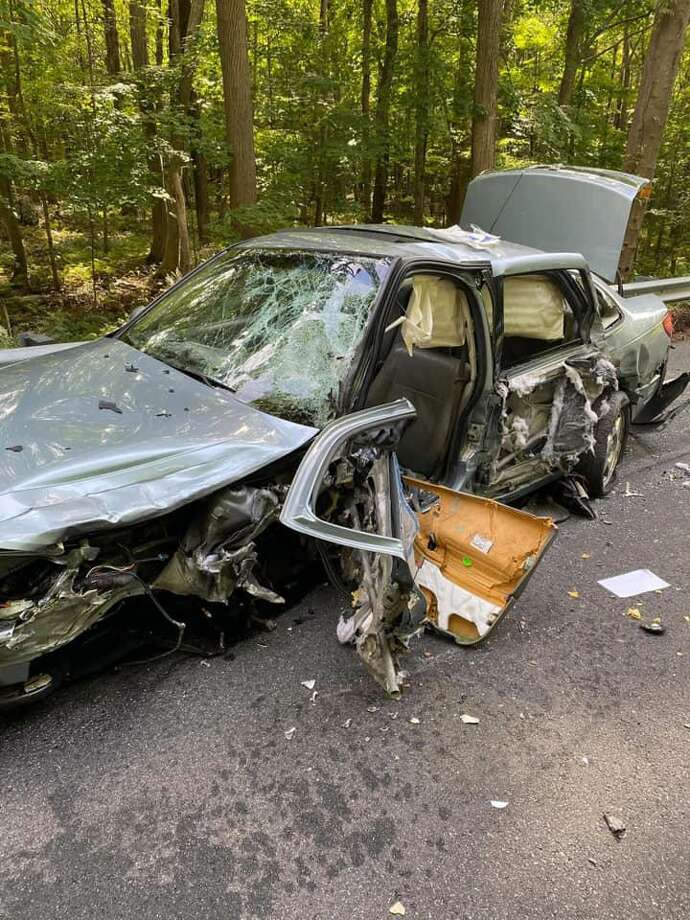 Fire crews extricated the occupants of two cars involved in a serious crash on Route 313 in Seymour Monday, Aug. 31. Photo: Contributed /Citizens' Engine Co. No. 2