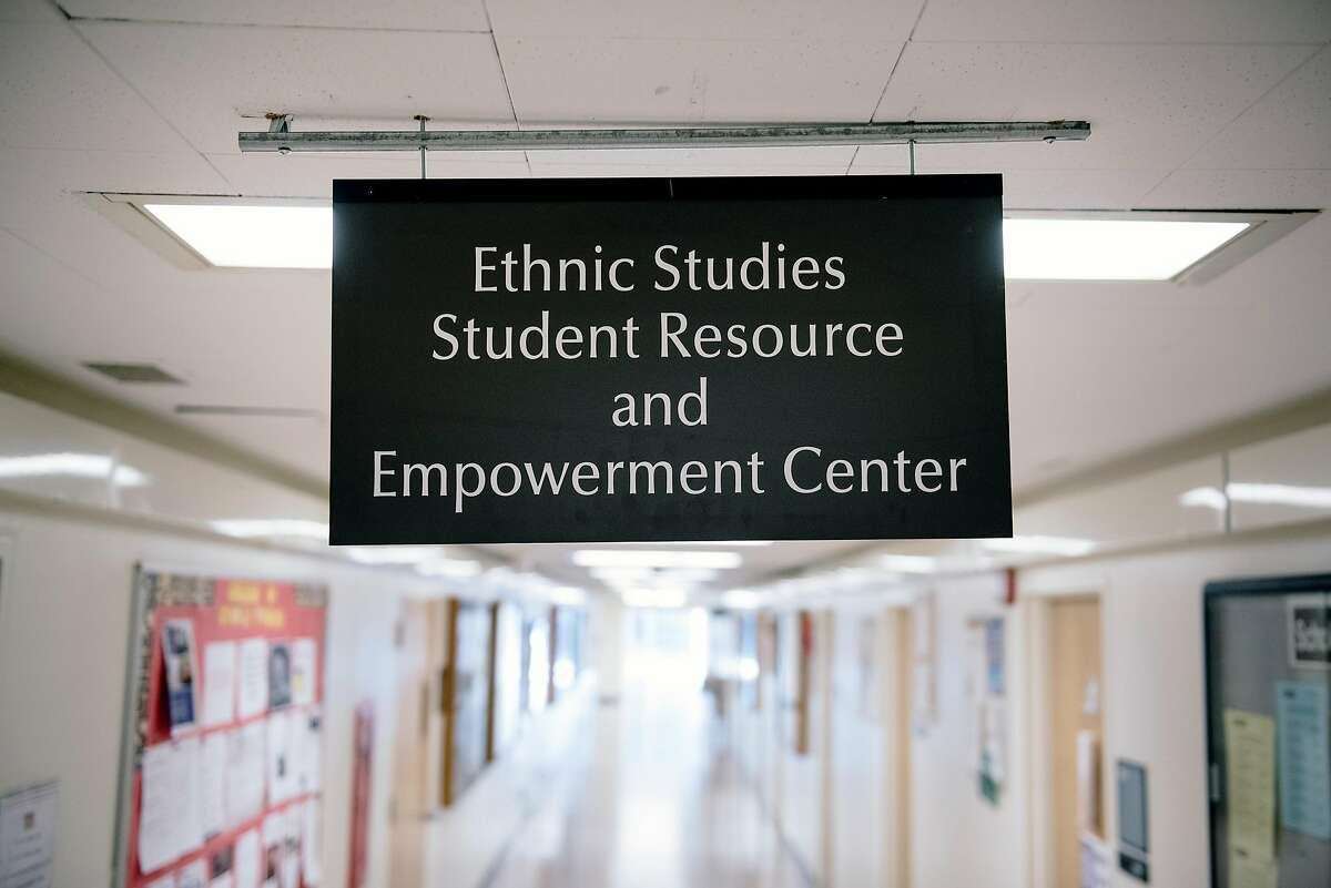 Signs are seen in the College of Ethnic Studies building at San Francisco State University in San Francisco, California, on Friday, Oct. 4, 2019.