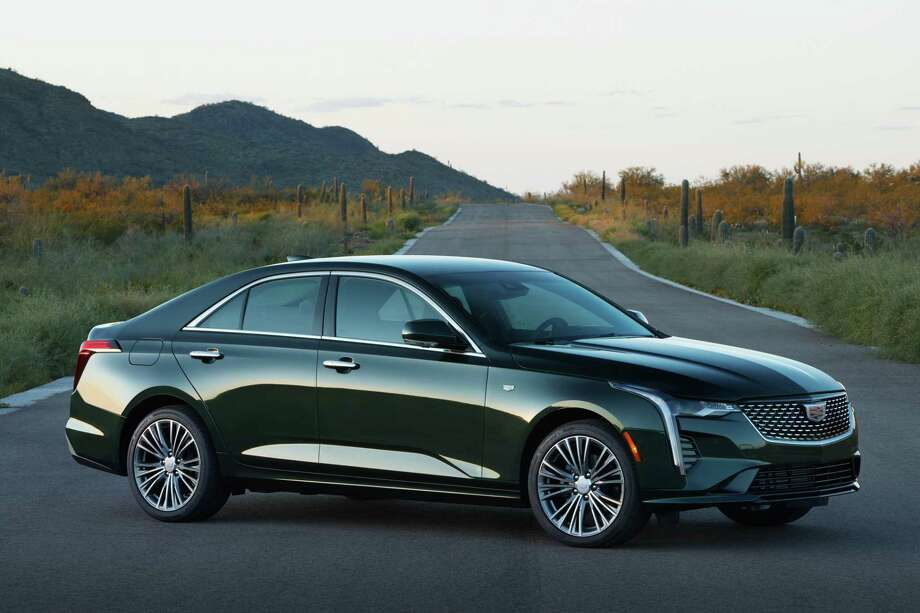 The base CT4 features include acoustic windshield and side glass to cut wind noise; leatherette upholstery; a 237-horsepower turbocharged inline Four; 8-speed automatic transmission; rear-wheel drive; 8-inch color touchscreen; satellite radio; and Apple CarPlay and Android Auto capability. Photo: Cadillac Pressroom / Contributed Photo / Cadillac/Frenak